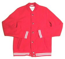 Mens Abercrombie & Fitch Varsity Baseball Jacket Sweatshirt Cardigan Red sz XL