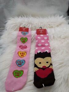 2 pairs New LADIES VALENTINES KNEE HIGH SOCKS WITH Hedge Hog & Hearts