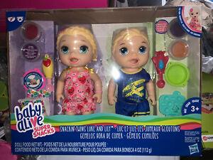 Baby Alive Super Snacks Snackin' Twins Luke & Lily Dolls Blonde Hair NIB Retir