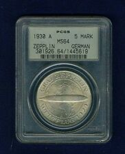 """GERMANY WEIMAR REP. 1930-A 5 REICHSMARK """"GRAF ZEPPELIN"""" COIN CERTIFIED PCGS MS64"""