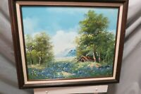 "Original DeLino Oil On Canvas Framed Painting 24"" x 21"" Landscape Scene Signed"