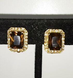Smokey Quartz Rhodium Rhinestone Gold toned Earrings Clip On