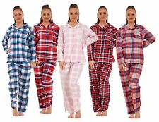 Ladies Pure Cotton Long Sleeve Check Button Up Pyjama Set PJ'S Nightwear
