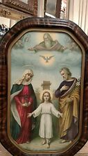 ANTIQUE FRAMED RELIGIOUS PRINT OF JOSEPH, MARY AND JESUS WITH GOD OVERLOOKING