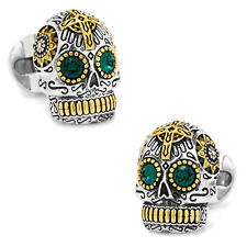 Ox and Bull Trading Co. Sterling Silver and Gold Day of the Dead Skull Cufflinks