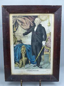 Original Antique J Baillie George Washington Lithograph Print in Period Frame