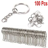 Lots DIY 25mm Polished Silver Keyring Keychain Split Ring Short Chain Key Rings