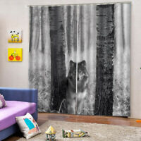 2 Panels Animal Style Wolf Curtains Drapes for Bedroom Living Room Bath Kitchen