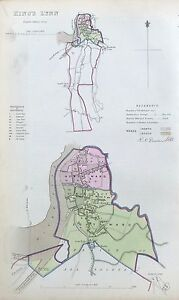 KINGS LYNN - Original Antique Map + Boundary Commission Report, 1837.