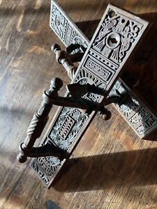 Pair of Massive Eastlake Victorian Cast Door Pulls & Plates with thumb latch
