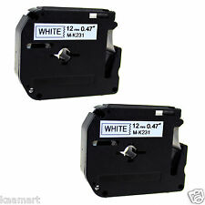 2x compatible with Brother P-touch Labels M-K231 WHITE Tape PT65 PT70 PT55BM