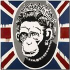"BANKSY STREET ART CANVAS PRINT Monkey Queen England flag 24""X 16"" stencil poster"