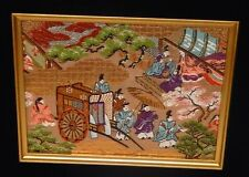 SMALL CHINESE EMPEROR SILK EMBROIDERED TAPESTRY SIGNED