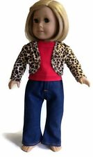 Red Top, Jeans, & Animal Print Jacket for 18 inch American Girl Doll Clothes