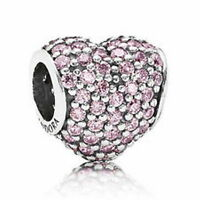 GENUINE PANDORA S925 ALE STERLING SILVER PINK PAVE HEART CHARM IN POUCH OR B0X