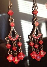 Red Crystal Earrings Delicate Diamonte Drop Design/Pierced/Antique Look