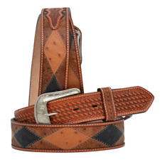 3D Western Mens Belt Leather Patchwork Ostrich Brown D8853