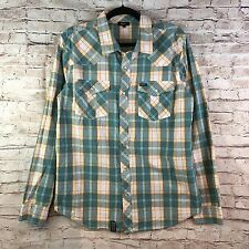 Lifted Research Group LRG Wovens Men's Plaid Flannel Long Shirt Snap Up Front L