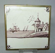 (G3126) Keramik Fliese /Kachel Untersetzer,Holland 18.Jahrhundert, Messingrahmen