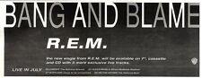"ARTICLE - ADVERT 29/10/94PGN27 R.E.M : BANG AND BLAME SINGLE 4X11"""