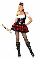 Sexy Pirate Girl Costume Fancy Dress Red Black Layered Lace up Gipsy Halloween