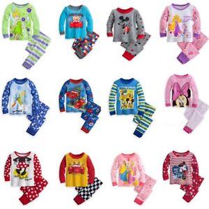 New Girl Boy Pyjamas Sleepwear PJs Cars Tinkerbell Minnie Size 3-10yrs