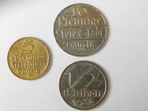 Münzen 1/2 Gulden Danzig 5 u. 10 Pfennig