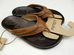 Olukai Men's Mea Ola Leather Sandals - Tan/Dark Java Size 10 *NEW*