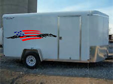 American Flag & Horse Trailer Enclosed Trailer Graphic Decal  20x90   Set of 2