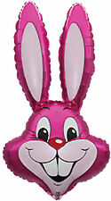 """Bunny Rabbit Head 35"""" Pink Shaped Foil Balloon Big Easter Party Decoration Loose"""