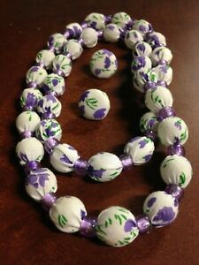 Marble Bead Necklace and Earring Set Purple Floral Fabric Covered OOAK Handmade