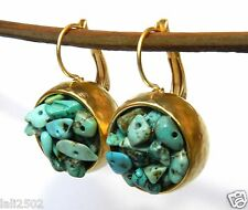 Yellow Gold 24K Plated Round Dangle Earrings Handcrafted Set w Turquoise Stones