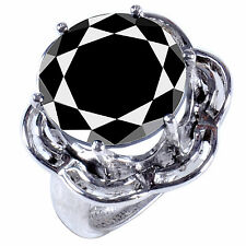 925 Silver Engagement Ring Size 8 12.46 Ct Black Color Round Moissanite Diamond