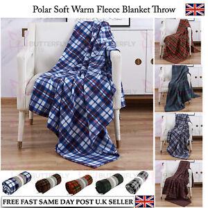 Tartan Check Polar Fleece Throw Blanket Picnic Beach Park Travel 120cm x 150cm