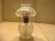 Vintage Miniature Oil Lamp With Shade In Cosmos Pattern