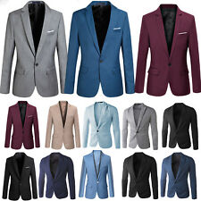 Mens Classic Stylish Formal Business Suit Blazer Slim Fit Luxury Coat Jacket UK