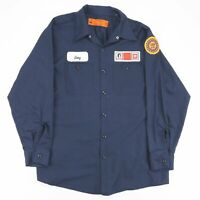 Vintage RED KAP Navy Blue Casual Embroidered Utility Worker Shirt Men's Size L