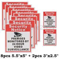 10pcs Security Notice Premises Monitored 24 Hour Video Surveillance Sign