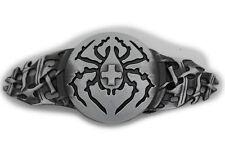 New Men Women Silver Belt Buckle Extra Long Black Widow Spider Cross Halloween