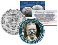 THEODORE ROOSEVELT * 1906 NOBEL PEACE PRIZE * Colorized JFK Half Dollar US Coin