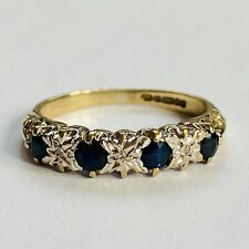 Vintage 9ct Gold Sapphire & Diamond Eternity Ring Size I.5