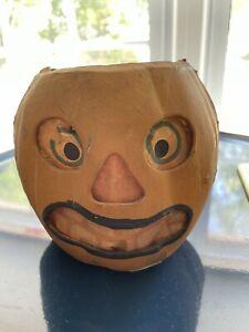 "Antique Medium Paper Mache Halloween Jack-O-lantern Pumpkin 5"" No Handle"