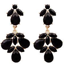 Occident Fashion Elegant Black Resin Drop Flower Dangle Statement Stud Earring