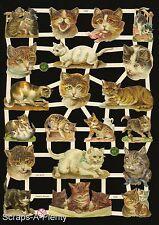 German Victorian Style Embossed Scrap Die Cut - Kitty Cat Meow   EF7329