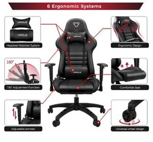 Office Racing Chair Gaming Swivel PU Leather Computer Seat Home 180 Degree Chair