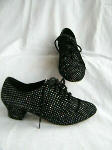 Dance Shoes 6 Black Glitter Suede Party Jazz Ballroom/Latin/Salsa Leather Soles