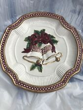 """Fitz and Floyd Holiday Christmas Bells Canape Dessert Plate-2001 - 9"""""""