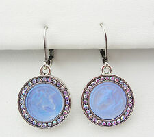KIRKS FOLLY CLOUDWALKER UNICORN LEVERBACK EARRINGS ST/ TANZANITE CRYSTAL AB