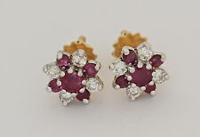 Diamond  Unheated Ruby earrings  St George 18ct white gold studs hallmarked new