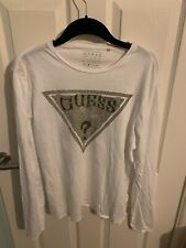 GUESS Medium white long sleeve top t shirt, Used, Logo Branded On Front